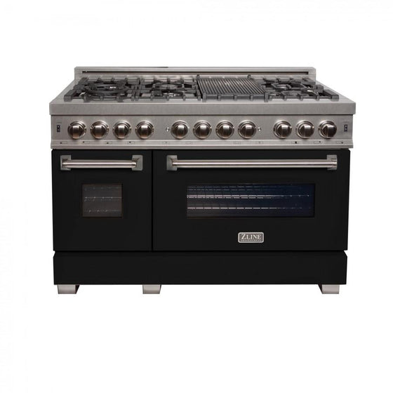 "ZLINE 48"" Dual Fuel Range Snow Stainless, Black Matte Door, RAS-BLM-48 - Farmhouse Kitchen and Bath"