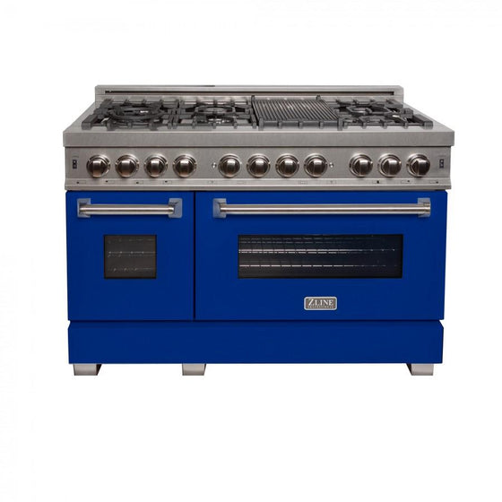 "ZLINE 48"" Dual Fuel Range Snow Stainless, Blue Matte Door, RAS-BM-48 - Farmhouse Kitchen and Bath"