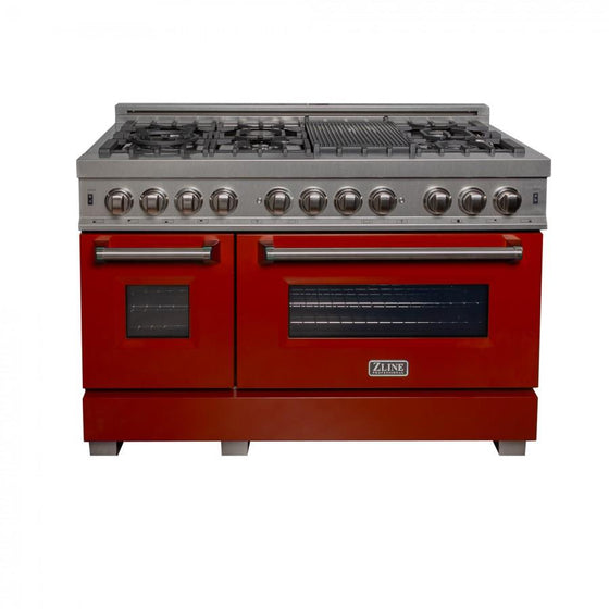 "ZLINE 48"" Dual Fuel Range in Snow Stainless, Red Gloss Door, RAS-RG-48 - Farmhouse Kitchen and Bath"