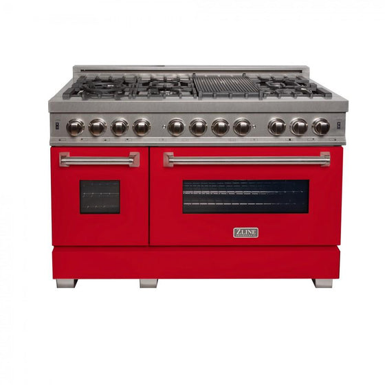 "ZLINE 48"" Dual Fuel Range Snow Stainless, Red Matte Door, RAS-RM-48 - Farmhouse Kitchen and Bath"