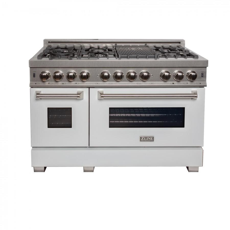 "ZLINE 48"" Dual Fuel Range Snow Stainless, White Matte Door, RAS-WM-48 - Farmhouse Kitchen and Bath"