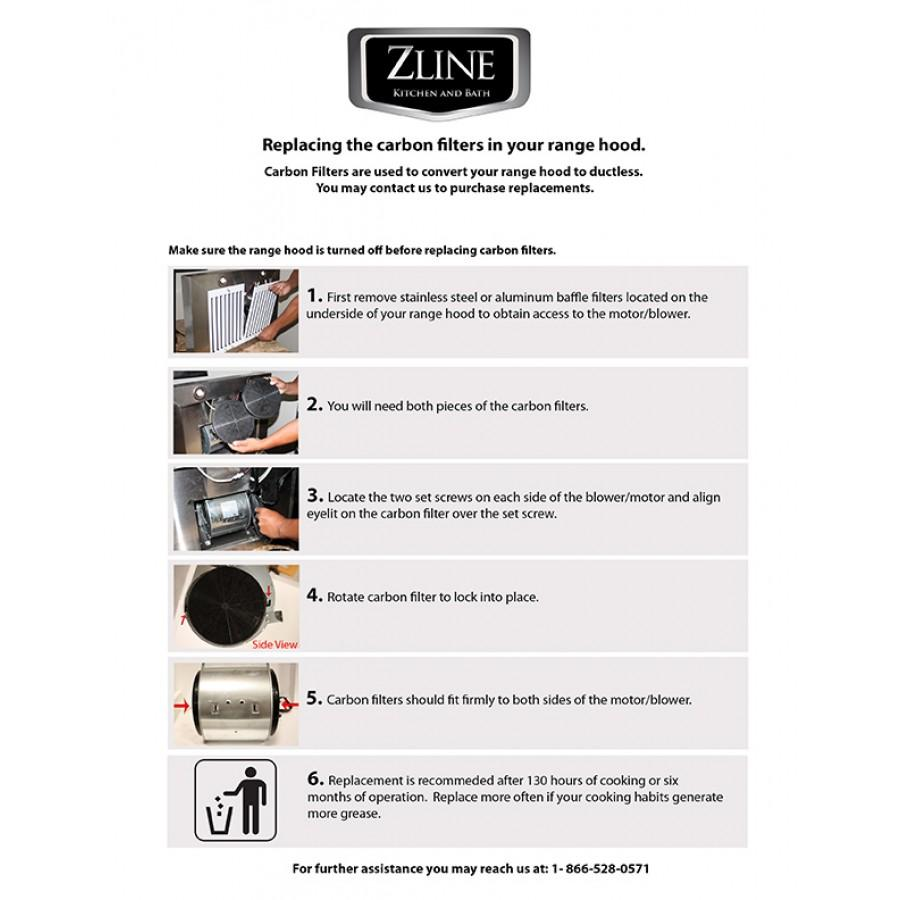 ZLINE 1 Set Charcoal Filters for Range Hoods w/Recirculating Option CF1 - Farmhouse Kitchen and Bath