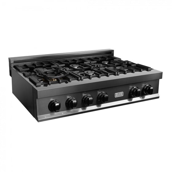 "ZLINE 36"" Porcelain Rangetop in Black Stainless with 6 Gas Burners, RTB-36 - Farmhouse Kitchen and Bath"