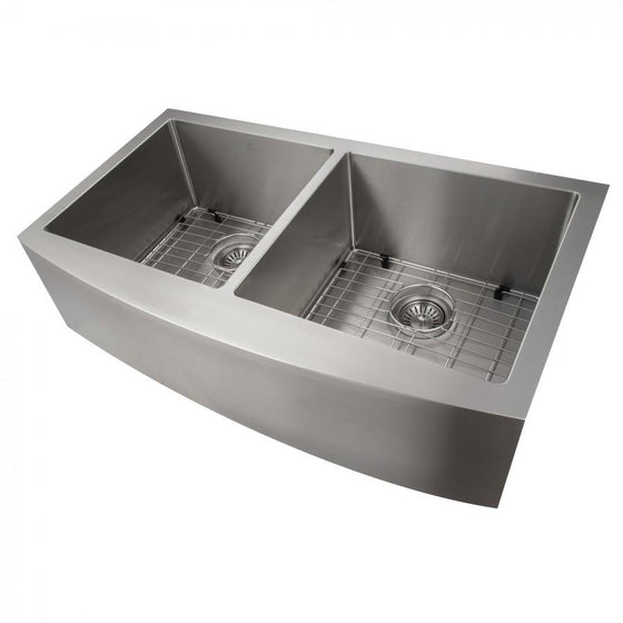 "ZLINE Farmhouse 36"" Double Bowl Apron Sink Stainless Steel, SA50D-36 - Farmhouse Kitchen and Bath"