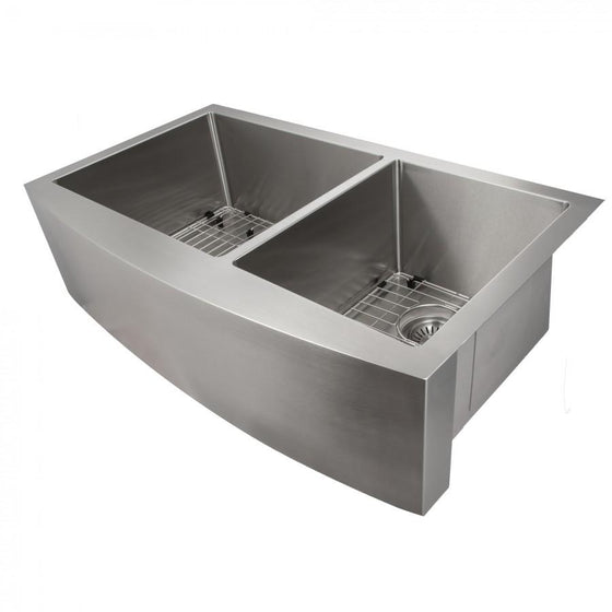 "ZLINE Farmhouse 36"" Double Bowl Apron Sink Stainless Steel, SA60D-36 - Farmhouse Kitchen and Bath"