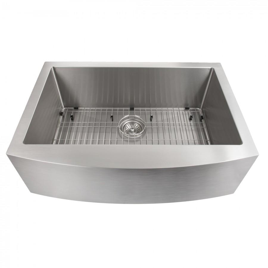 "ZLINE Farmhouse 30"" Single Bowl Apron Sink, Stainless Steel, SAS-30 - Farmhouse Kitchen and Bath"