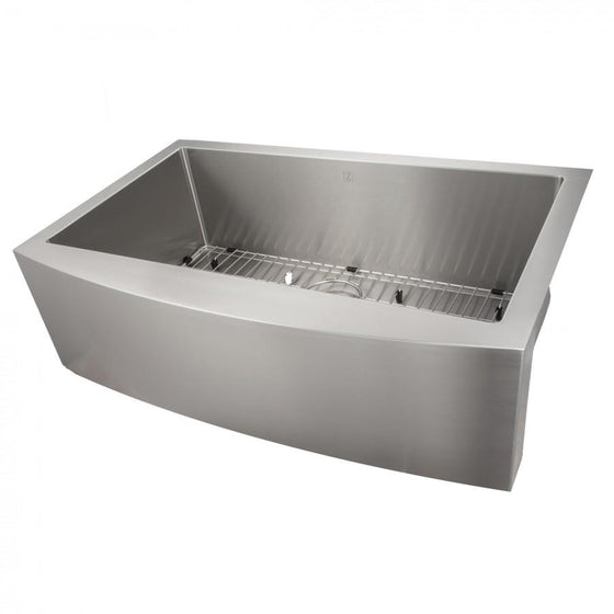 "ZLINE Farmhouse 33"" Single Bowl Apron Sink, Stainless Steel, SAS-33 - Farmhouse Kitchen and Bath"