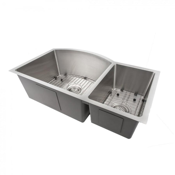 "ZLINE 33"" Undermount Double Bowl Sink in Stainless Steel, SC70D-33 - Farmhouse Kitchen and Bath"