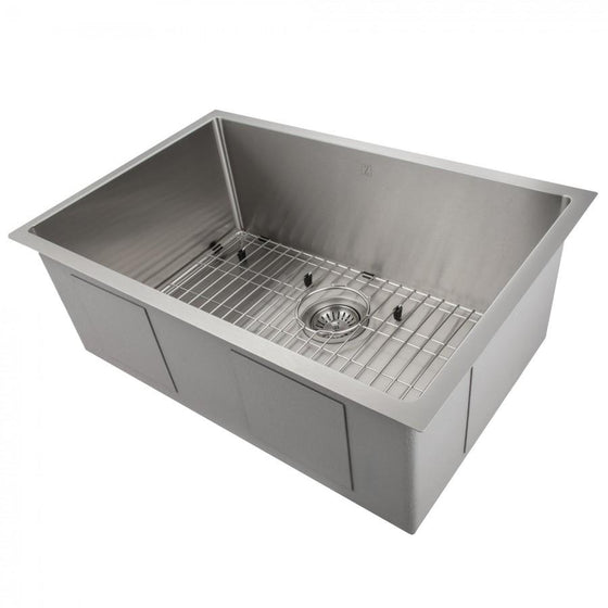 "ZLINE 30"" Undermount Single Bowl Sink in Stainless Steel, SRS-30 - Farmhouse Kitchen and Bath"