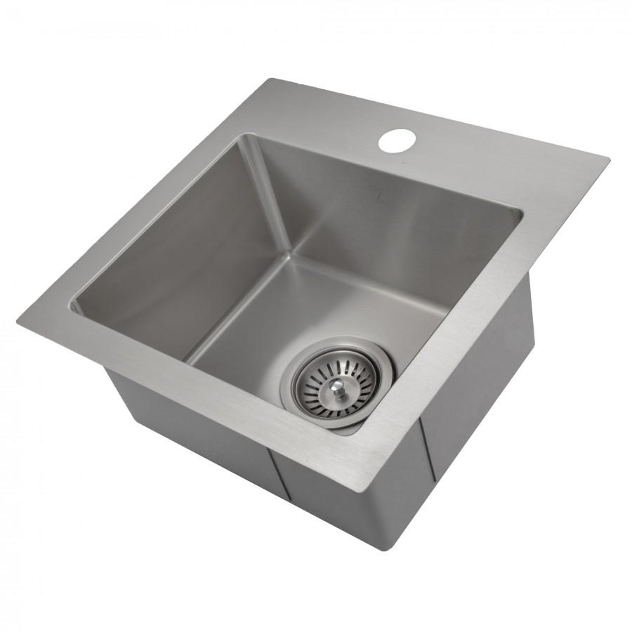 "ZLINE 15"" Topmount Single Bowl Bar Sink in Stainless Steel, STS-15 - Farmhouse Kitchen and Bath"
