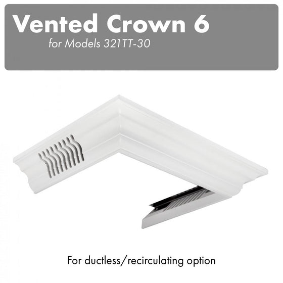 ZLINE Vented Crown Molding Profile 6 for Wall Mount Range Hood CM6V-300T - Farmhouse Kitchen and Bath