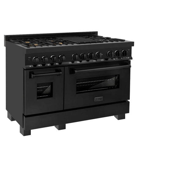 "ZLINE 48"" Black Stainless, Gas Burner/Electric Oven, Brass Burners, RAB-BR-48"