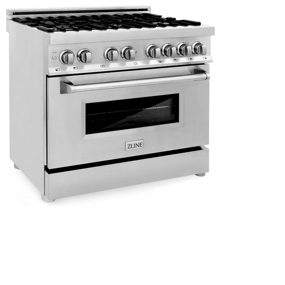 "ZLINE 36"" Stainless 4.6 cu.ft. 6 Gas Burner/Electric Oven Range, RA36"