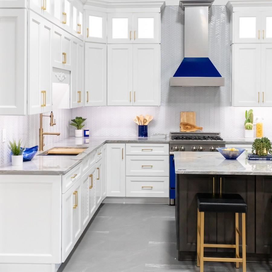 "ZLINE 42"" Snow Finish Wall Range Hood, Blue Gloss Shell, 8654BG-42 - Farmhouse Kitchen and Bath"