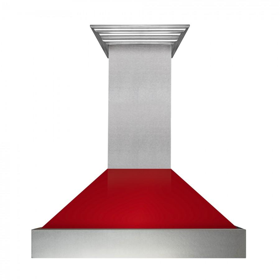 "ZLINE 30"" Snow Finish Wall Range Hood, Red Gloss Shell, 8654RG-30 - Farmhouse Kitchen and Bath"
