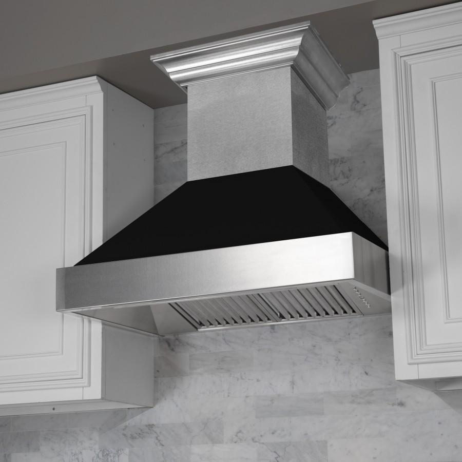"30"" Coloured Range Hood Shell, Black Matte, Shell Only, 8654-SH-BLM-30 - Farmhouse Kitchen and Bath"