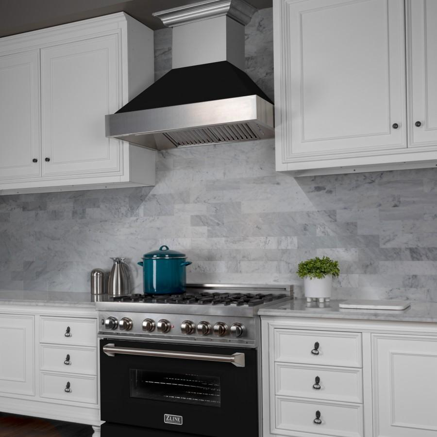 "ZLINE 42"" Snow Finish Wall Range Hood, Black Matte Shell, 8654BLM-42 - Farmhouse Kitchen and Bath"
