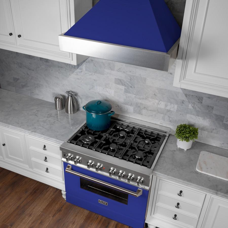 "ZLINE 48"" Snow Finish Wall Range Hood, Blue Matte Shell, 8654BM-48 - Farmhouse Kitchen and Bath"