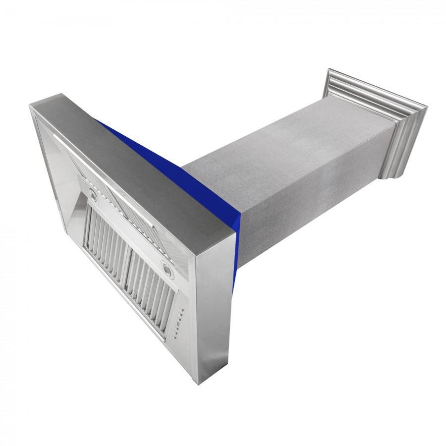 "ZLINE 30"" Snow Finish Wall Range Hood, Blue Matte Shell, 8654BM-30 - Farmhouse Kitchen and Bath"