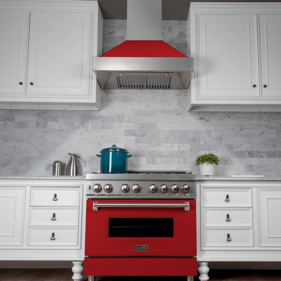 "ZLINE 36"" Snow Finish Wall Range Hood, Red Matte Shell, 8654RM-36 - Farmhouse Kitchen and Bath"