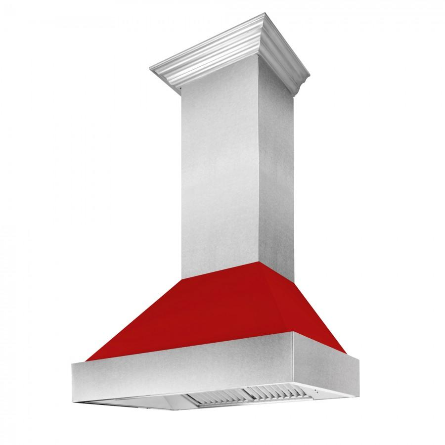 "ZLINE 48"" Snow Finish Wall Range Hood, Red Matte Shell, 8654RM-48 - Farmhouse Kitchen and Bath"
