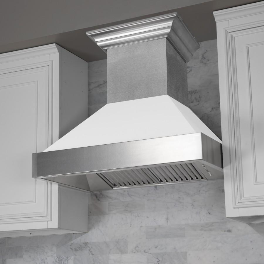 "42"" Colored Range Hood Shell in White Matt, Shell Only, 8654-SH-WM-42 - Farmhouse Kitchen and Bath"