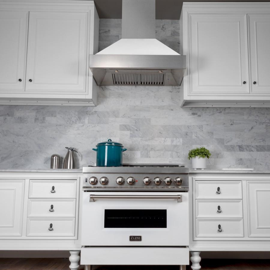 "ZLINE 30"" Snow Finish Wall Range Hood, White Matte Shell, 8654WM-30 - Farmhouse Kitchen and Bath"