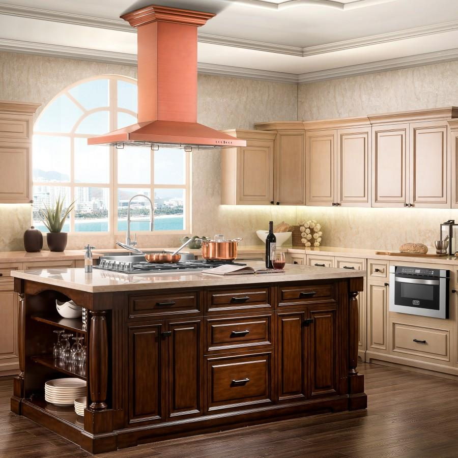 "ZLINE 36"" Copper Island Range Hood 8KL3iC-36 - Farmhouse Kitchen and Bath"