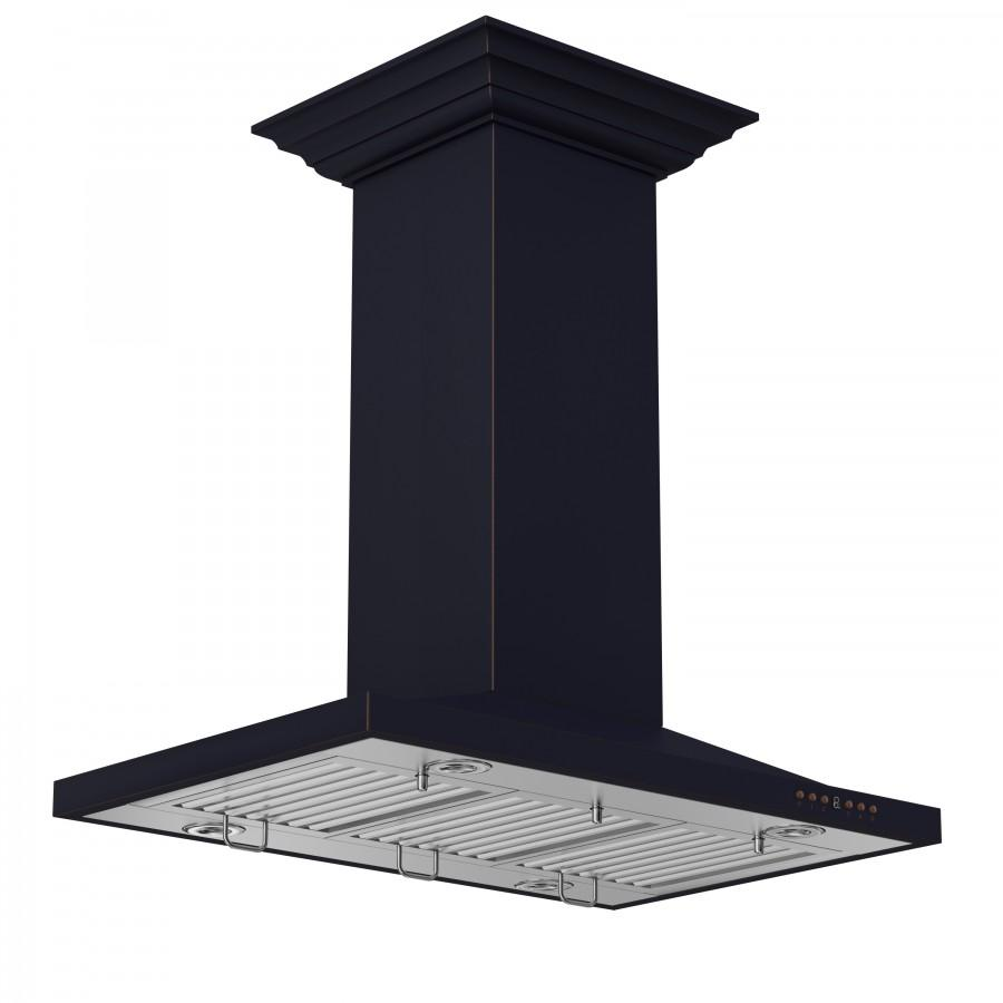 "ZLINE 30"" Oil-Rubbed Bronze Island Mount Range Hood, 8GL2Bi-30 - Farmhouse Kitchen and Bath"