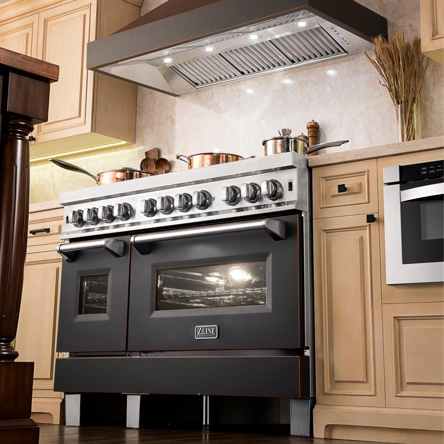 "ZLINE 36"" Hand-Hammered Copper Finish Wall Range Hood, 655-HBXXX-36 - Farmhouse Kitchen and Bath"
