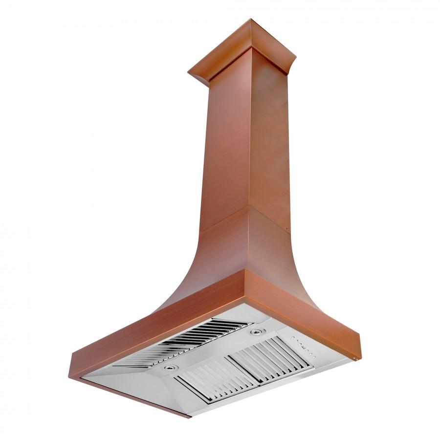 "ZLINE 30"" Designer Series Copper Finish Wall Range Hood, 8632C-30 - Farmhouse Kitchen and Bath"