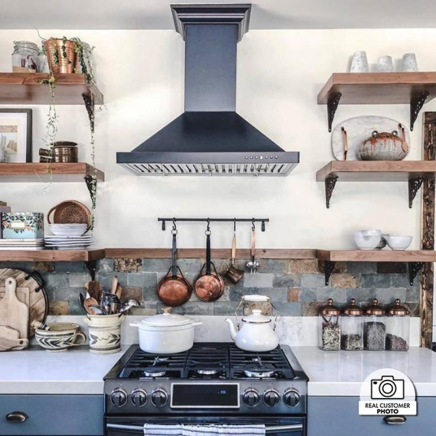 "ZLINE 42"" Oil-Rubbed Bronze Wall Range Hood 8KBB-42 - Farmhouse Kitchen and Bath"