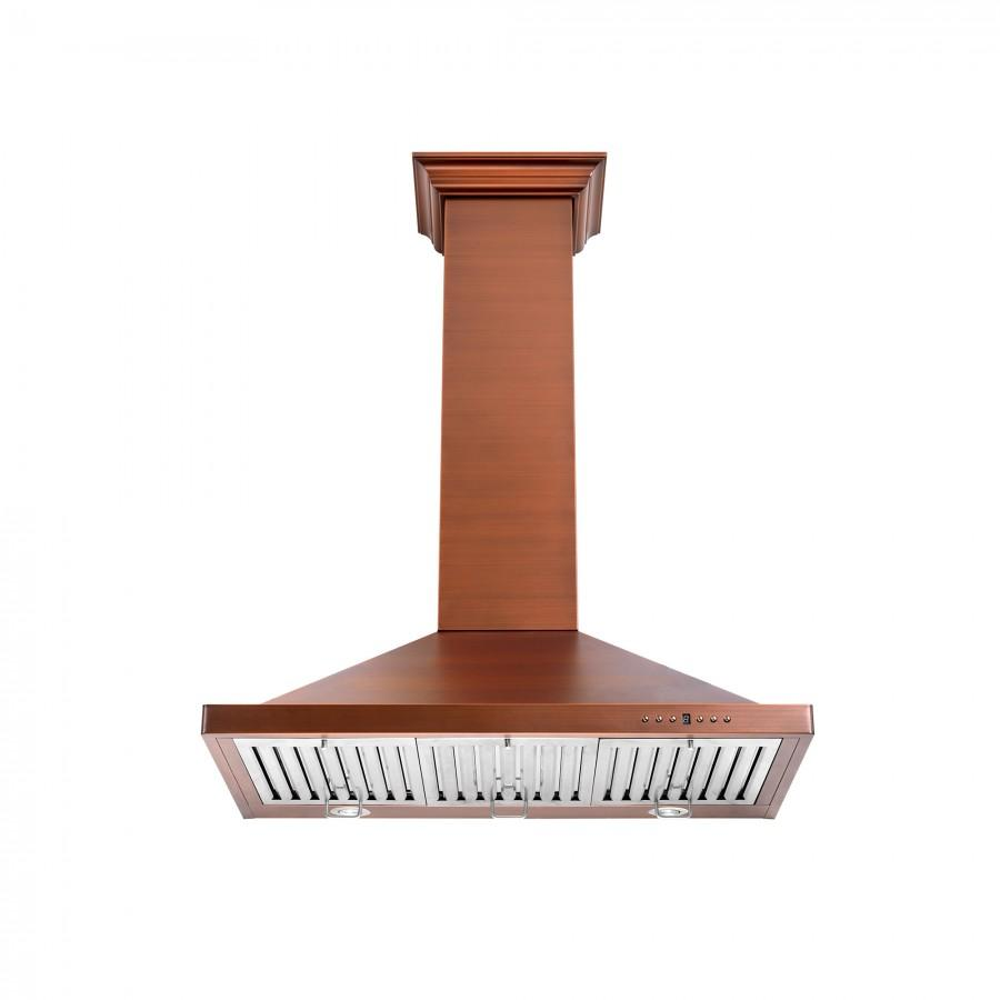 "ZLINE 48"" Copper Wall Range Hood, 8KBC-48 - Farmhouse Kitchen and Bath"