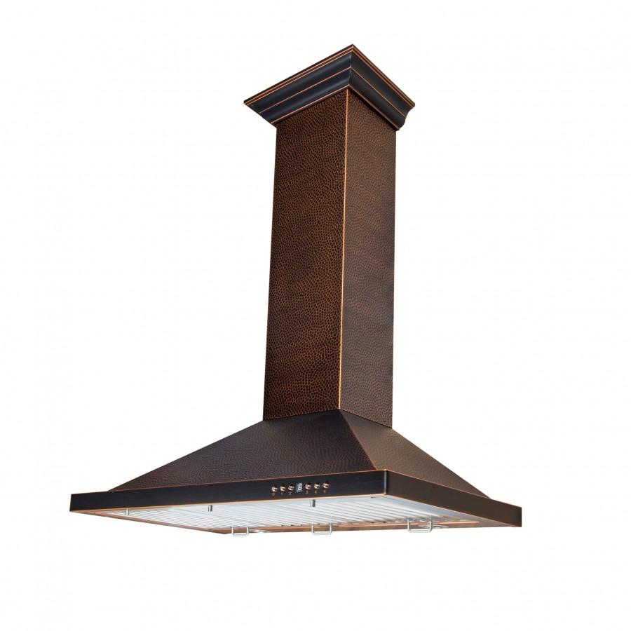 "ZLINE 36"" Hand-Hammered Copper Finish Wall Range Hood, 8KBH-36 - Farmhouse Kitchen and Bath"