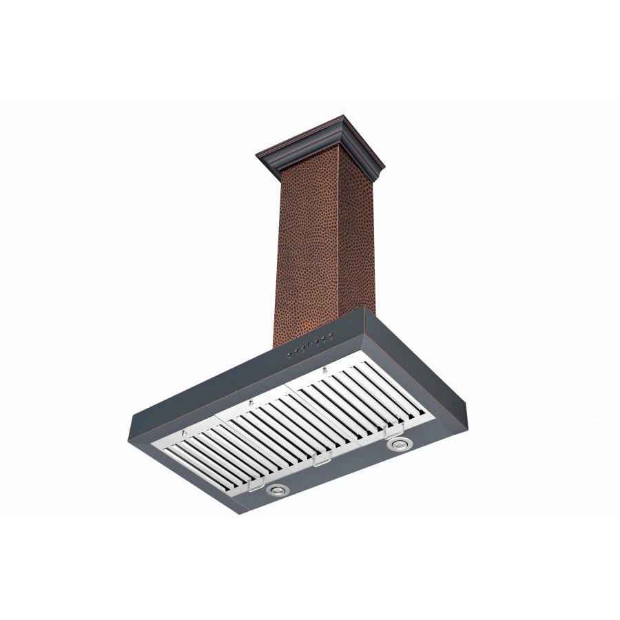 "ZLINE 36"" Hand-Hammered Copper Wall Range Hood, KB2-HBXXX-36 - Farmhouse Kitchen and Bath"