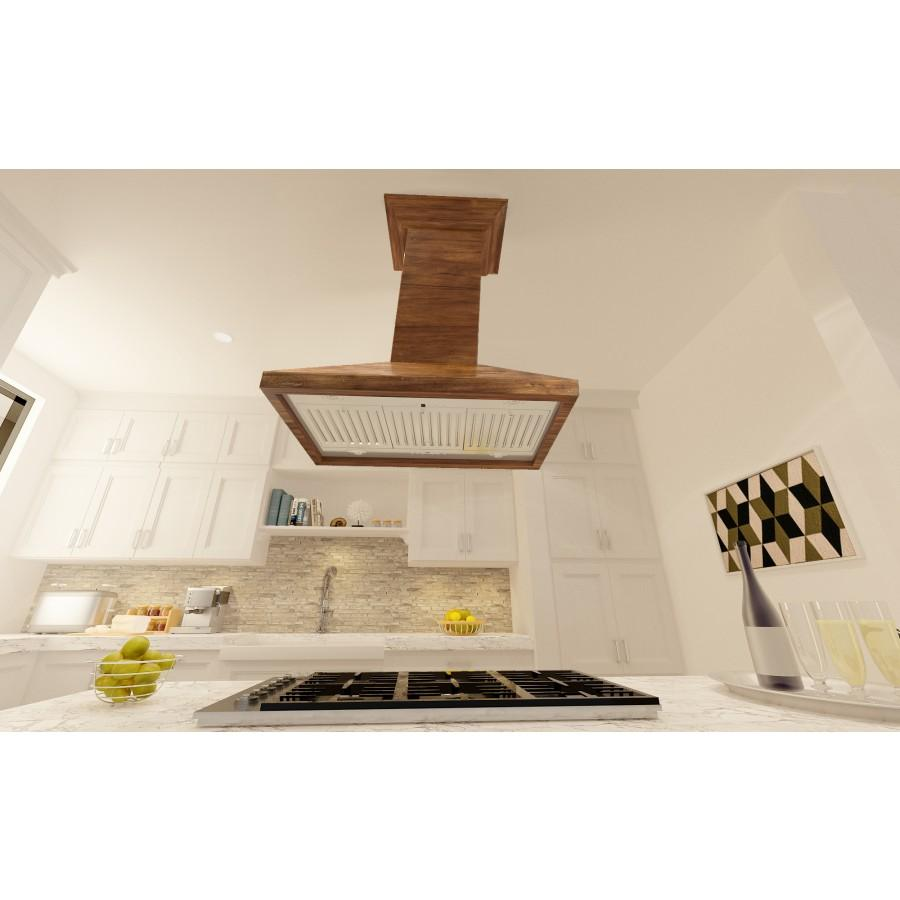 "ZLINE 36"" Wooden Island Range Hood in Walnut, KBiRR-36 - Farmhouse Kitchen and Bath"