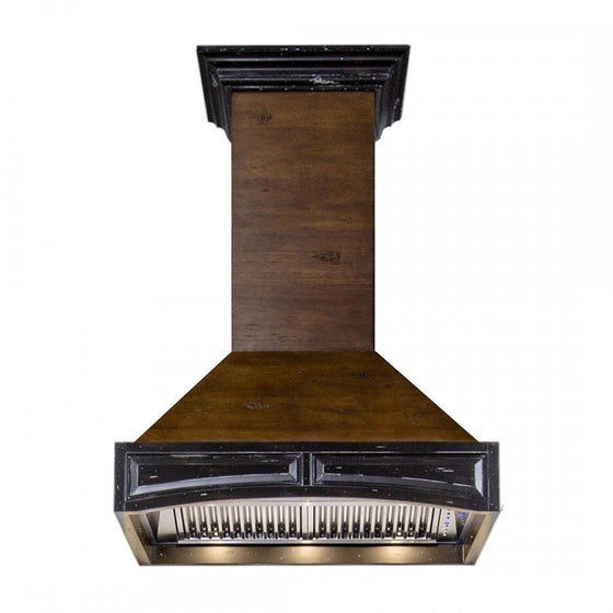"ZLINE 42"" Wooden Wall Range Hood, Antigua and Walnut, 321AR-RS-42-400 - Farmhouse Kitchen and Bath"