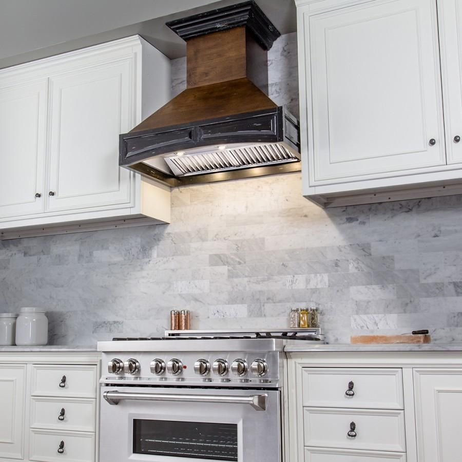 "ZLINE 30"" Wooden Wall Range Hood, Crown Molding 321AR-30 - Farmhouse Kitchen and Bath"