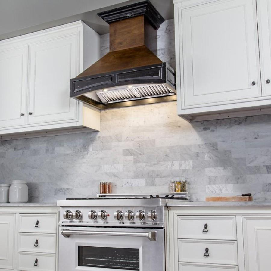 "ZLINE 42""  Wooden Wall Mount Range Hood, Antigua and Walnut, 321AR-RD-42 - Farmhouse Kitchen and Bath"