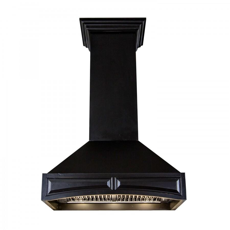 "ZLINE 30"" Wooden Wall Range Hood Black, Remote Motor, 321CC-RS-30-400 - Farmhouse Kitchen and Bath"