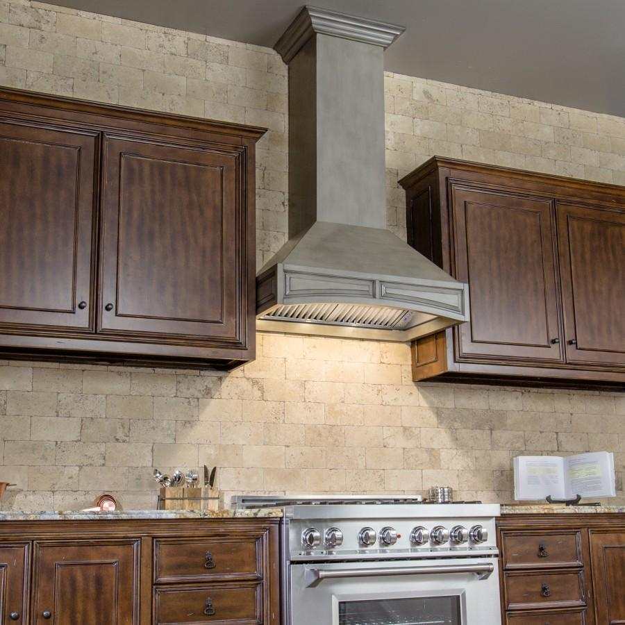"ZLINE 30"" Wooden Wall Range Hood, Gray, Remote Motor, 321GG-RD-30 - Farmhouse Kitchen and Bath"