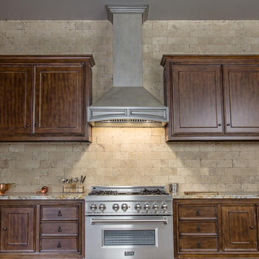 "ZLINE 36"" Designer Wooden Wall Range Hood, Crown Molding, 321GG-36 - Farmhouse Kitchen and Bath"
