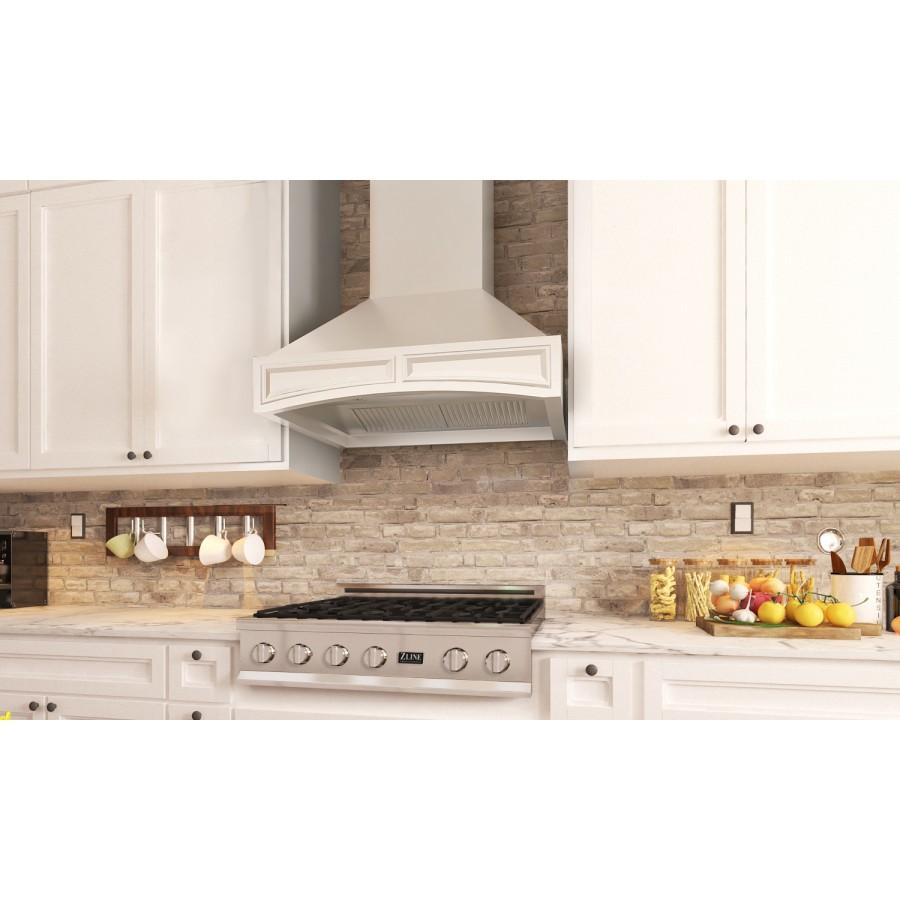 "ZLINE 30"" Wooden Wall Range Hood with Crown Molding, 321TT-30 - Farmhouse Kitchen and Bath"