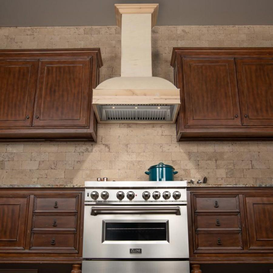 "ZLINE 48"" Unfinished Wooden Wall Range Hood, 369UF-RS-48-400 - Farmhouse Kitchen and Bath"