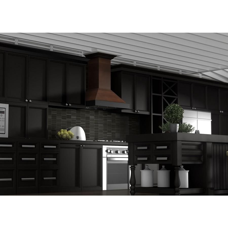 "ZLINE 30"" Wooden Wall Range Hood, Crown Molding KBAR-30 - Farmhouse Kitchen and Bath"