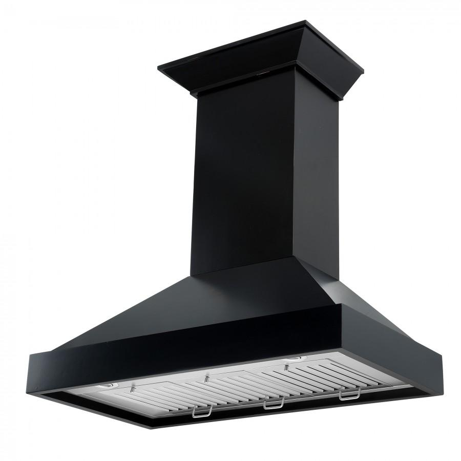 "ZLINE 36"" Designer Series Wooden Wall Range Hood in Black, KBCC-36 - Farmhouse Kitchen and Bath"