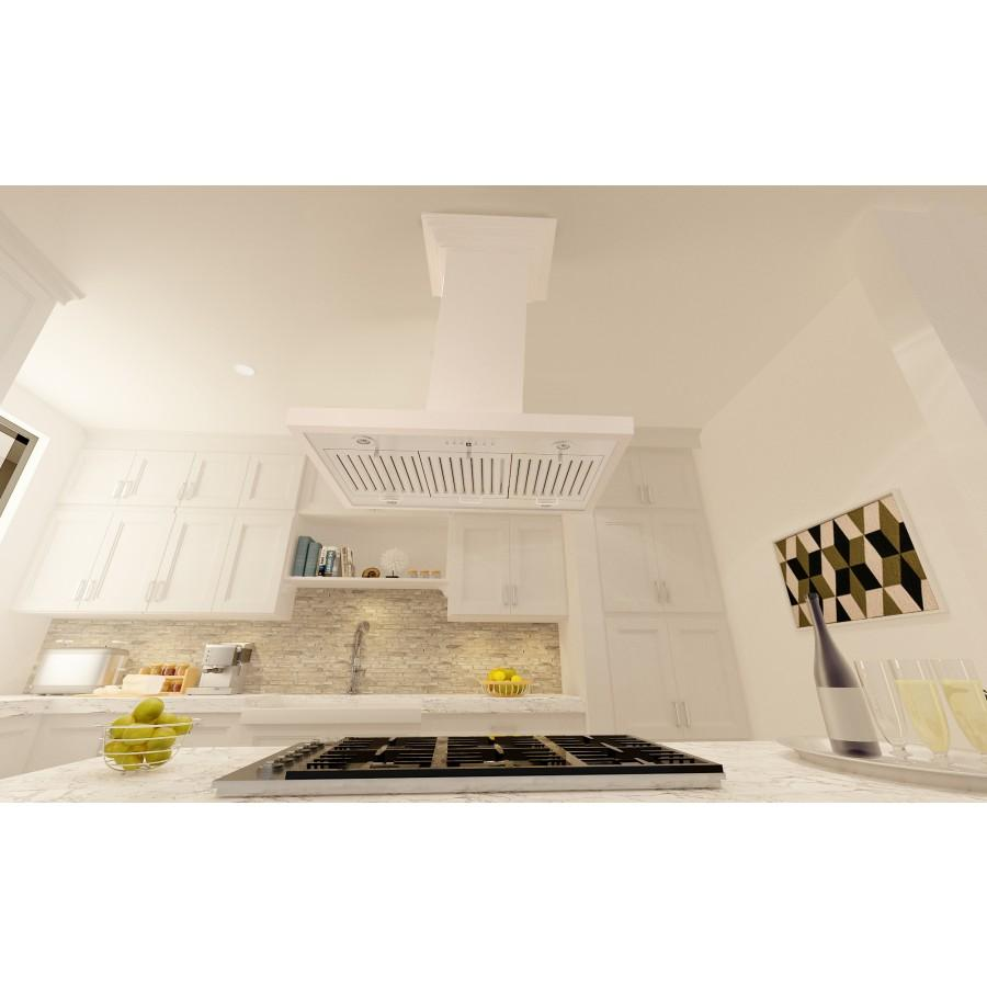 "ZLINE 30"" Designer Series Wooden Island Range Hood in White, KBiTT-30 - Farmhouse Kitchen and Bath"