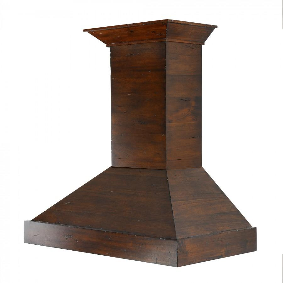 "ZLINE 48"" Wooden Wall Range Hood in Walnut,  KBRR-48 - Farmhouse Kitchen and Bath"