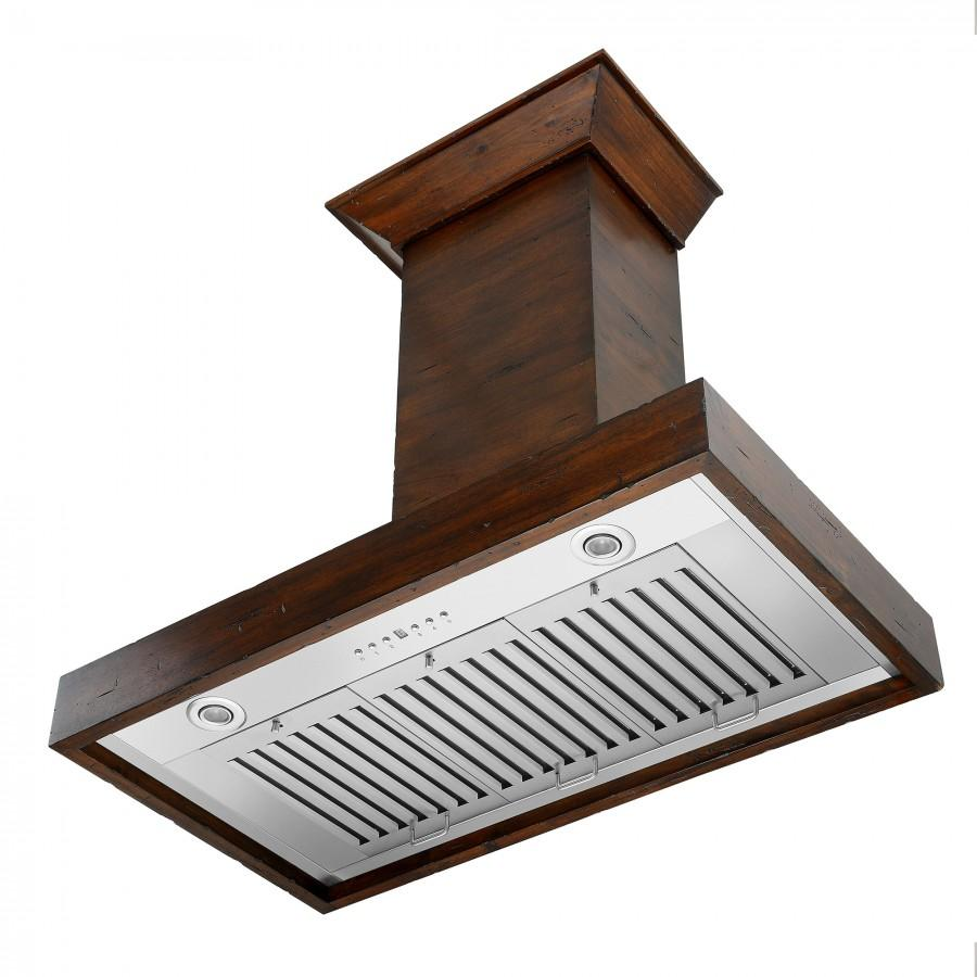 "ZLINE 30"" Wooden Wall Range Hood in Walnut, KBRR-30 - Farmhouse Kitchen and Bath"