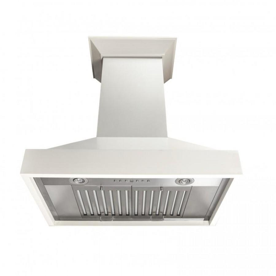 "ZLINE 48"" Wooden Wall Mount Range Hood, White, KBTT-RD-48 - Farmhouse Kitchen and Bath"
